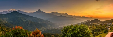 Sunrise over Himalaya mountains near Pokhara in Nepal
